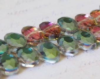 5 oval faceted Crystal beads pink/green 12x9x6mm