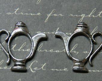 2 silver 21x21mm teapot charms