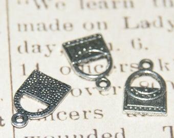 Set of 3 charms 17x11mm silver handbag