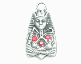 Egyptian Pharaoh metal charm silver antique 26x14mm
