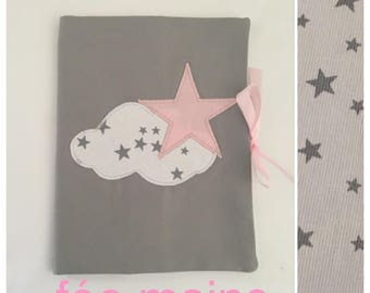 In stock: Star and cloud grey, pink and white health book