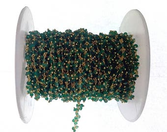 on sale- 10 ft natural green onyx cluster chain