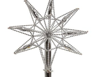 Star Silver Glass Christmas Tree Topper