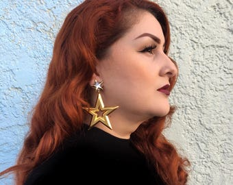 Oversized Star XL gold statement earrings