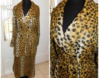 Vintage Cheetah Print Skirt Set, Metallic Cheetah Leopard Skirt set, 80s skirt set, Animal Print Skirt set Medium/ Large