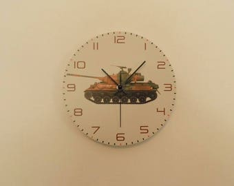 Tank wall clock,  kids room  coloured,  Housewares, nurcery wall clock, gift for boys or girls,  animal wall clock