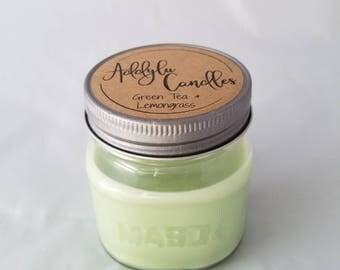 Green Tea and Lemongrass Candle / 8oz Mason Jar Candle / Soy Candle / Summer Candle / Green Tea Candle