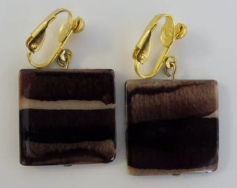 Clip on earrings-brown earrings-gemstone earrings-semiprecious earrings-gold plated-handcrafted-one-off-shell-square-brown and cream