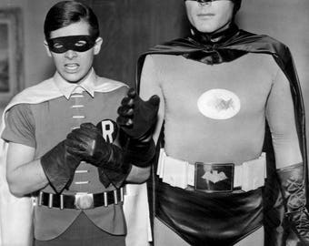 Adam West with ROBIN , Burt Ward , PHOTOGRAPH ..... star of the Batman Tv Show from the 1960 's  , the Batman Television Series