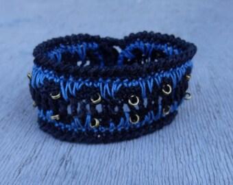 Cotton bracelet, Black blue braclet, cotton men bracelet, crocheted cuff, handmade boho jewelry, woven jewellery, arm band, wrist band