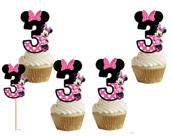 Minnie mouse number 3 cakepop/cupcake toppers 24pcs