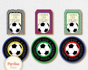 Thank You Favor Tags .Soccer. green, red or blue.. Printable Favor Tags Soccer Birthday diy Thank You Tags INSTANT DOWNLOAD