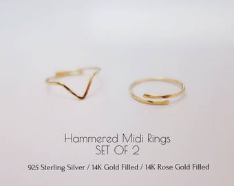 SET OF 2 Hammered Midi Ring Sterling silver Gold filled Rose Gold Filled Knuckle Ring Band ring Adjustable Stacking Ring Dainty Minimalist