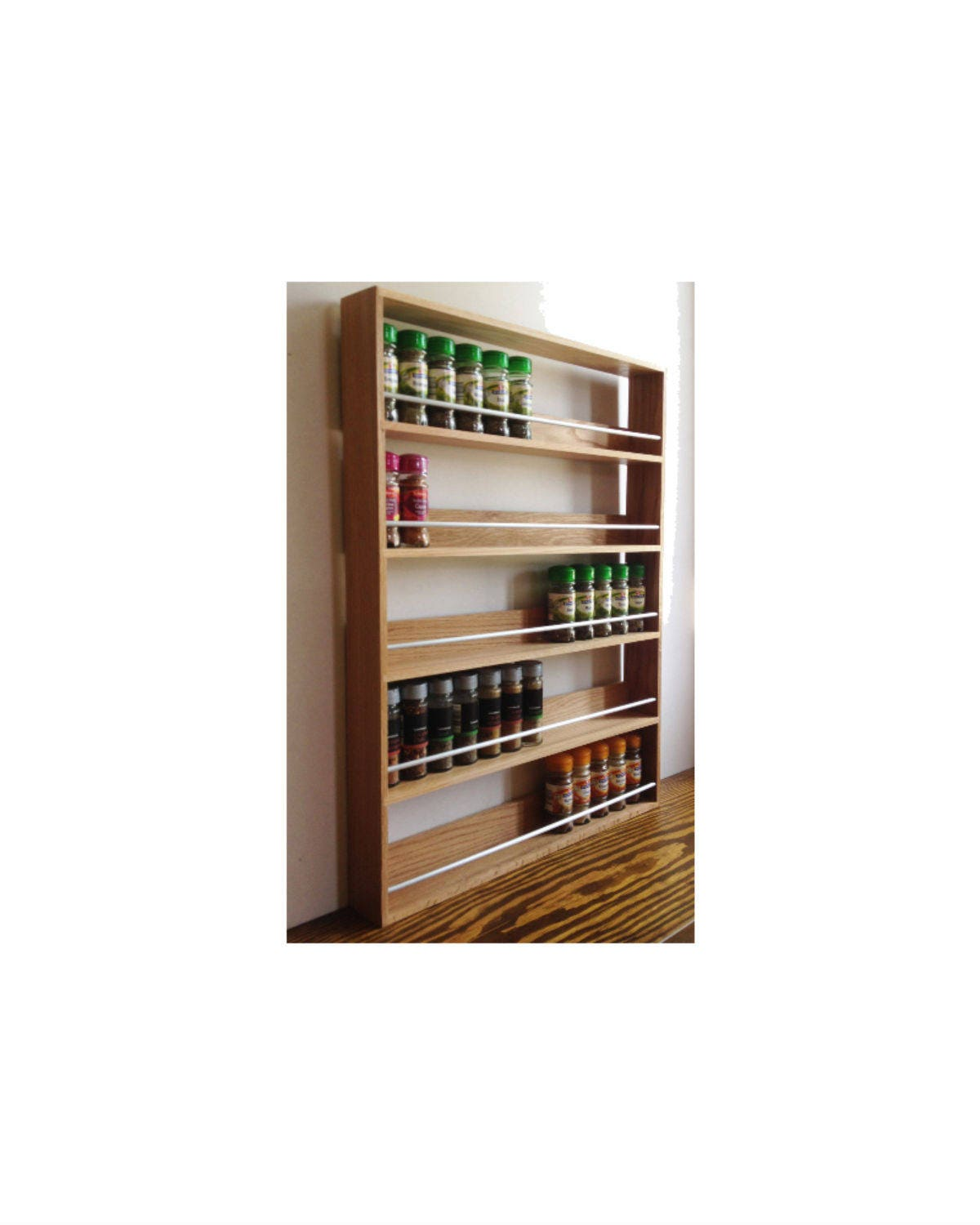 Kitchen Storage Cabinets Free Standing Uk: Solid Oak Spice Rack 5 Shelves Freestanding Or Wall Mounted