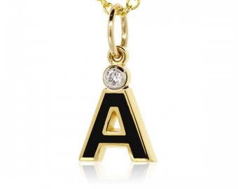 """French Enamel Letter """"A"""" 18K Yellow Gold Charm"""