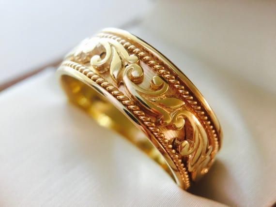 Wedding Band Celtic Knot Ring 14k Gold Bands Rings Engagement Pagan Jewelry Irish