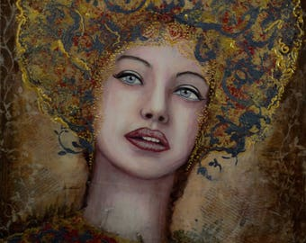 "Fine art print on Giclee paper 12"" x 12"" ready to frame ""Like a Spotlight on my soul"" Portrait by Deborah Bowe DCBArtstudio"