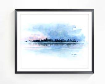 Original Watercolor Art, Watercolor Landscape Painting, Original Artwork, Sunset Painting