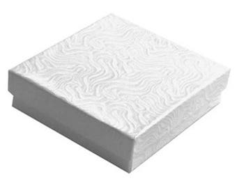 """New White Swirl Pattern 10 Jewelry Packaging Gift Boxes  Cotton Filled Lid 3 1/2"""" x 3 1/2"""" x 1"""""""