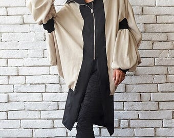 ON SALE Asymmetric Maxi Coat/Beige Long Jacket/Loose Oversize Blazer/Extravagant Casual Jacket/Long Zipper Top/Plus Size Tunic/Beige Maxi Ca