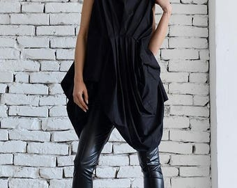 ON SALE Black Extravagant Shirt/Asymmetric Casual Tunic/Loose Black Long Top/Modern Urban Style Shirt/Short Summer Dress/Belted Tunic Top