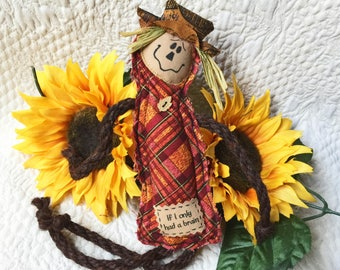 Fall Scarecrow ornament, Homage to Oz spirit,  Thanksgiving decor, Scarecrow decor, Halloween decoration,  If I Only Had a Brain #2