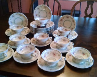 10 Seltmann Weiden bavaria pink and blue  flowers cups saucers and luncheon plates