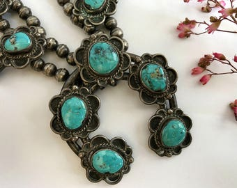 Vintage Squash Blossom Necklace. Morenci Turquoise. Navajo. Vintage Jewelry. Southwestern Jewelry