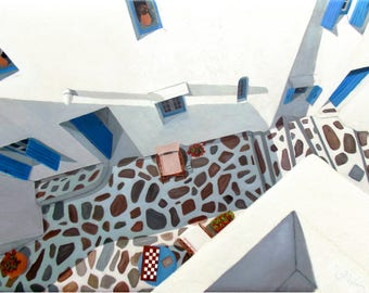 Extreme perspective looking down from an upstairs balcony into a Mykonos morning patio textured walls square Oil Paintings checkers chairs