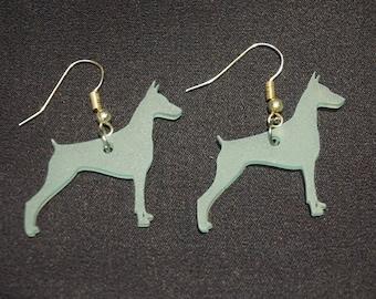 Teal Doberman Pinscher Acrylic Sea Glass Earrings
