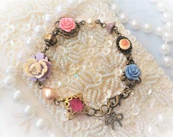 Shabby chic cameo bracelet and porcelain