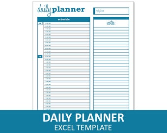 Basic Daily Planner - Blue | Printable Excel Planner Template | Daily Schedule | Instant Digital Download