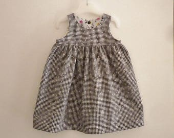 Black and white squares and flowers gathered baby dress, size 12/18 months