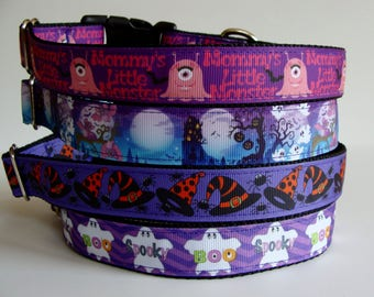 READY TO SHIP! Halloween Dog Collars - Monster, Spooky, Witch Hat, Boo - Medium
