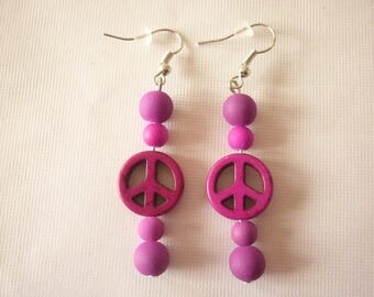 Earrings Pearl peace and love and purple beads.