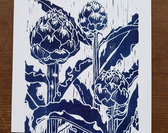 Artichoke card, woodcut print, blue, Japanese woodblock print, printmaking, vegetable garden, allotment, thank you, birthday, blank