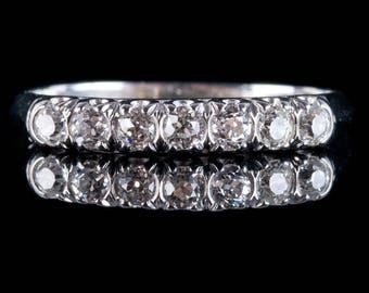 Vintage 1890's Platinum Old European Cut Diamond Wedding Band / Ring .46ctw