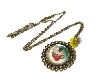 long necklace alice in wonderland rabbit cabochon glass