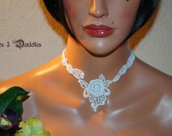 Bridal white flower lace necklace * 3 lace *.