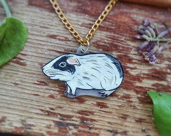 CUSTOM Guinea Pig Pet Portrait Hand Painted Pendant Necklace with Optional Chain