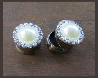 "Faux Pearl with a border of Rhinestones on stainless steel Wedding EAR TUNNELS plug gauge 1/2"", 9/16"", 5/8"", 11/16"" - 12mm, 14mm, 16mm, 18mm"