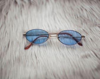 Blue Vintage Style Sunglasses / Blue Sunglasses / Blue Lenses