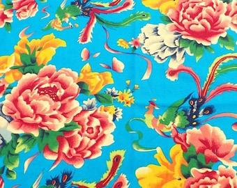 2 m fabric Chinese clothing blue laohua Peony