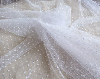 White tulle fabric dots 10 m.