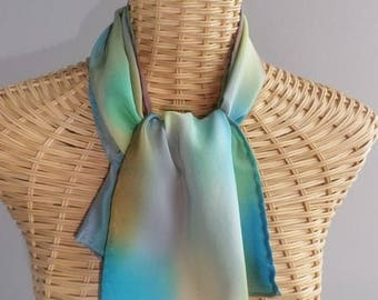 scarf in blue silk crepe and vert@evysoie