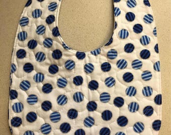 Baby Bib - White with Blue Striped Balls