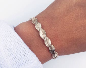 Bracelet gold plated leaves 750 - gold Bangle - gold plated bangle 18 k