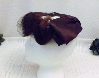 50s Mink Fur and Satin Vintage Fascinator Hat with Mesh