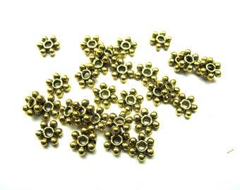20 RONDELLE FLOWER ANTIQUE GOLD 6 MM METAL BEAD