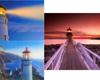 LIGHTHOUSE, Heceta Head and Marshall Point - 2 Lenticular 3D Postcard Greeting Cards